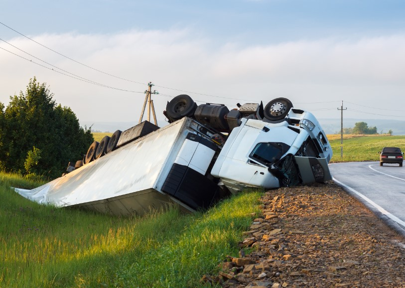 semi rolled into ditch outside St Louis MO